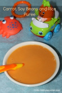 Carrot rice and beans puree baby food recipe